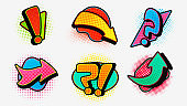 Pop art question with exclamation arrow set. Modern graphic design of pointers sudden shock in comic setting.