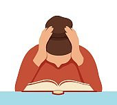 Focused female student reading book covering ears by hands vector flat illustration