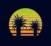 Sunset retro yellow green. Fantastic two palm trees against abstract background.