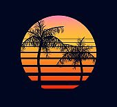 Sunset retro red orange. Abstract two palm trees against fantastic background of an setting sun.