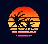 Retro sunset yellow red. Rays evening setting sun two palm trees electronic synthwave against background.