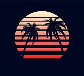 Retro sunset red white. Abstract two palm trees against fantastic electronic background.