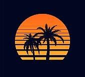 Retro sunset orange. Evening rays setting sun two palm trees against synthwave background.