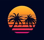 Retro sunset orange pink. Evening rays setting sun two palm trees against background.