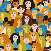 Female heads seamless pattern. Female faces different hairstyles happy smiling.