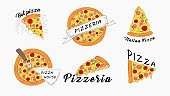 Pizza slices icons banner set. Fast hot Italian fast food juicy slices of pepperoni with mozzarella cheese.