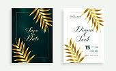 stylish golden leaves premium wedding card invitation vector design illustration