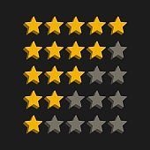 3d style star rating symbols