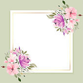 watercolor flowers frame with text space design