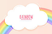 cute rainbow and cloud background in pastel colors vector design illustration