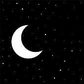 night black sky with moon and stars