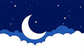 moon stars and clouds background in flat style