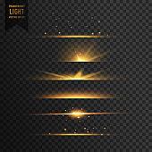 set of golden stars transparent light effect background