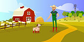 The dog holds a stick in his teeth and hands it to the farmer. Color illustration.