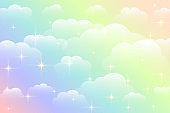 dreamy rainbow color beautiful clouds background vector design illustration