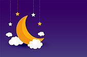moon clouds and stars purple background design