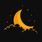 dreamy moon clouds and stars background design
