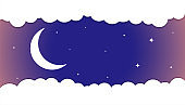 moon and stars background with white clouds