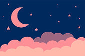 flat style moon stars and clouds background design