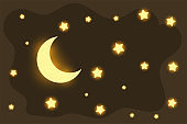 beautiful glowing moon and stars dreamy background