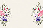watercolor floral flower decoration background with text space vector design illustration