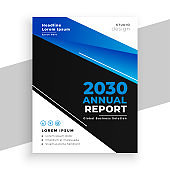 stylish blue and black business annual report brochure vector design illustration