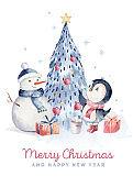 Watercolor merry christmas character penguin illustration. Winter cartoon isolated cute funny animal design card. Snow holiday season xmas penguins.