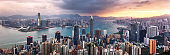 Hong Kong cityscape panorama from Victoria peak, China - Asia