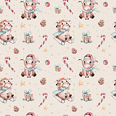 Watercolor cartoon cute Bull seamless pattern. Symbol of the year 2021. Funny Christmas background