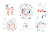 Wash your hand kids poster watercolor illustration with cat paws. hand drawing. hand washing. Drawing in cartoon style. Personal hygiene