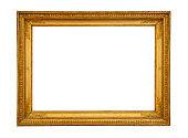 Antique gilded frame isolated on white background