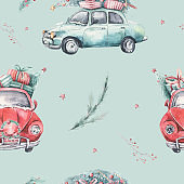 Watercolor christmas holiday seamless pattern with red and green transportation illustration. Merry Xmas auto winter design. Hand painted New year retro vintage cars wallpaper background fabric