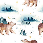 Watercolor winter forest with bear. Christmas tree landscape with Pine Trees fir in the Mountains. Hand painted Isolated on white Background. Snow holiday design