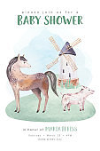Farms animal isolated set. Cute domestic farm pets watercolor illustration. horse and pig cartoon drawing.