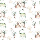 Cute cartoon baby dinosaurs seamless pattern watercolor paper, hand painted dino background texture Jurassic Park . Rex children funny art