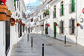 Mijas white washed street, small famous village in Spain