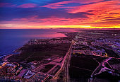 Bright picturesque sunset over Torrevieja city