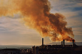 Power plant, smoke from the chimney. Spain