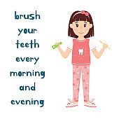 The girl holds Toothbrush and toothpaste in her hands. A cartoon character, cute child in pajamas and Slippers stands and smiles.Oral hygiene for kids.Health of teeth.Isolated vector illustration.flat