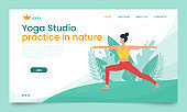 The girl practices yoga in the open air. Landing page template. The concept of outdoor yoga.Yoga classes in nature. Flat style. Girl in the pose of a warrior. Banner with a female cartoon character.