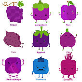 Cute vector of square shaped smiling fruit, vegetable with happy face in purple color