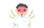 Illustration of a boy having dizziness due to heat stroke
