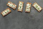 Breakfast with cottage cheese toasts top-down space for text