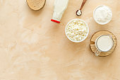 Dairy products - cottage cheese, milk, cream - top view copy space