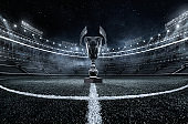 Sport Backgrounds.  Soccer stadium. 3D render stadium. The trophy goblet. Winner in a competition. Football field with goblet. Dramatic view.