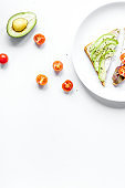 homemade sandwiches composition with plates on white table background top view mock-up