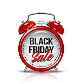 Black Friday inscription on realistic red alarm clock. Vector label template for advertising sales