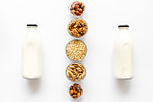 Dairy free milk protein nuts drink. Top view, copy space