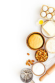 Bakery background. Ingredients and dough for cookies or cake
