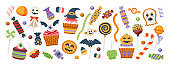 Halloween sweet set isolated in white background.